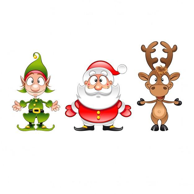 Babbo Natale E Gli Elfi.Babbo Natale Elfo E Renne Cartone Animato Divertente Isolato